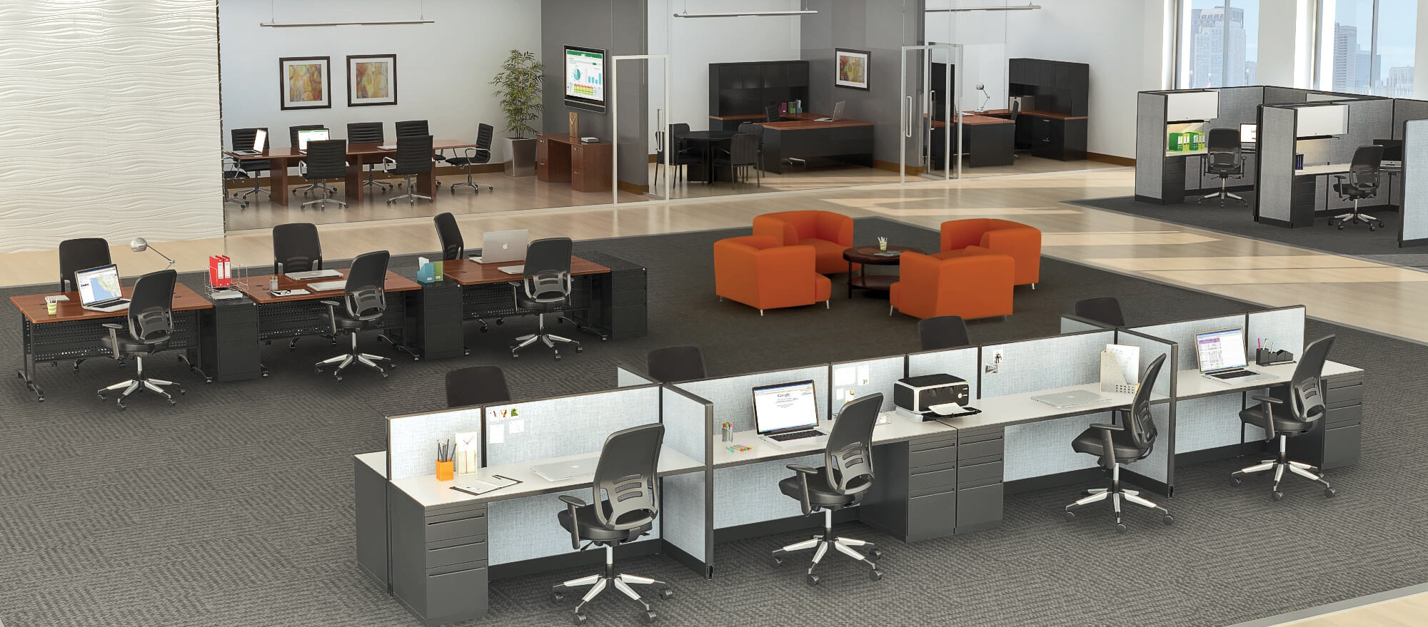 Office staging commercial staging rental brook for Where can i rent furniture