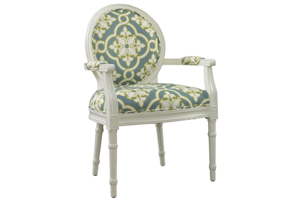 Penelope White & Teal Chair