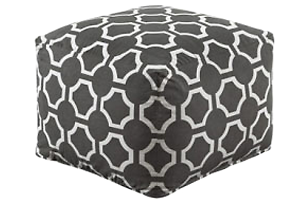 Geometric Gray Pouf