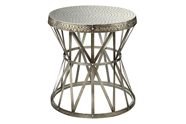 Hammered Nickel Drum Table