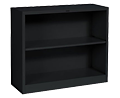 Black Two Shelf Metal Bookcase