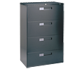 Four Drawer 3Ft Black Lateral File