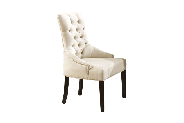 Tufted Linen Dining Arm Chair